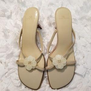 Ann Klein Cream Beaded Front Heeled Sandal.